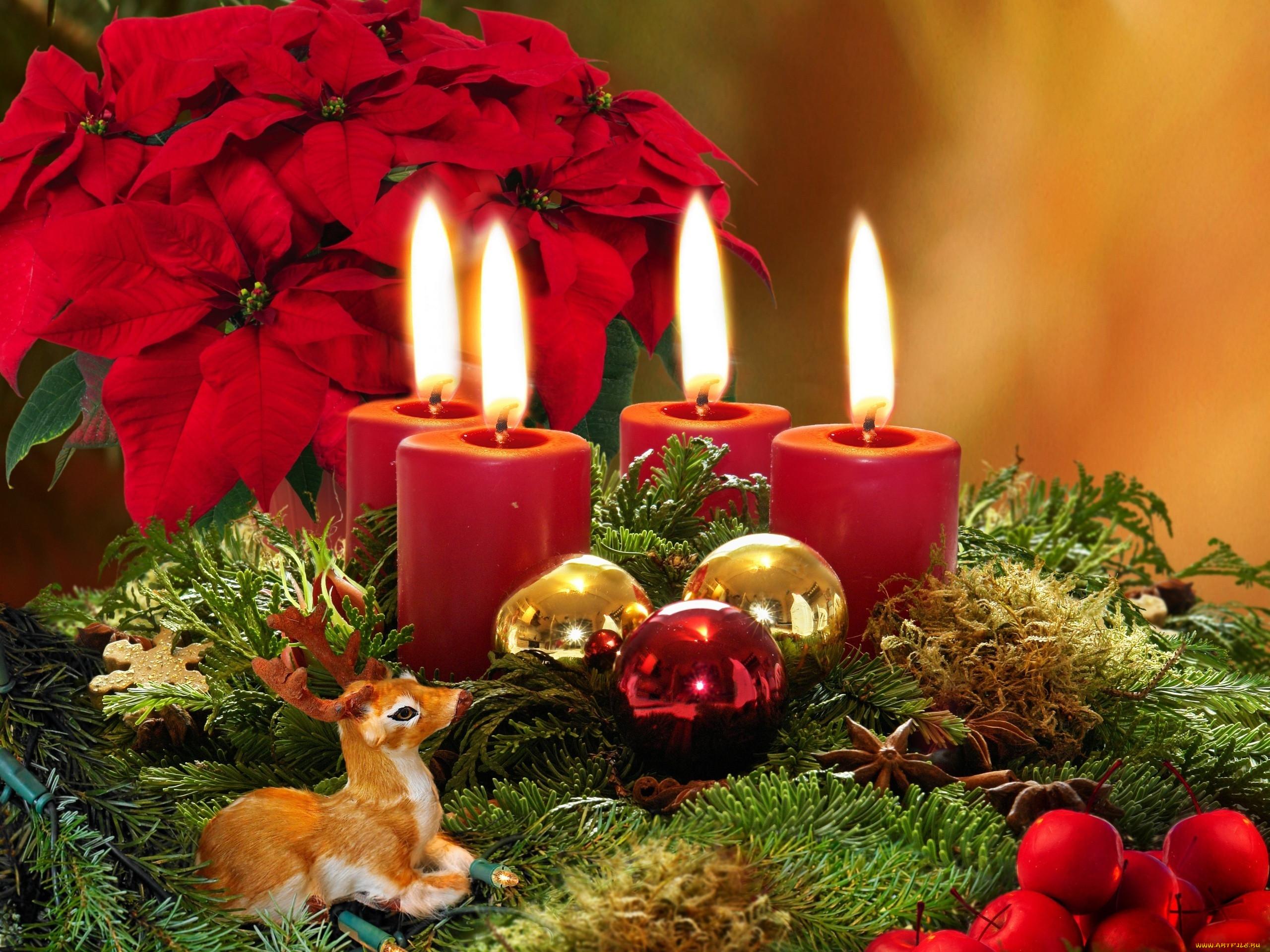 Новогодние картинки свечами